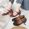 Women Mary Jane Sandals Ankle Buckle Mid Heel Round Toes Block Fashion Shoes