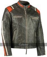 Men's Distressed Orange Striped Motorcycle Cowhide Leather Jacket Cafe Racer