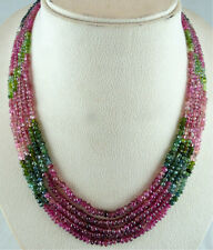 289 CTS NATURAL MULTI TOURMALINE FACETTED ROUND BEADS NECKLACE