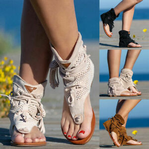 Summer Ladies Gladiator Sandals Shoes Womens Lace Up Flip Flops Flat Ankle Boots