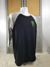 "Monster Energy Drink Mens Graphic ""M Claw"" Logo T-Shirt sz LARGE RARE Raglan"