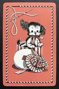Vintage Swap/Playing Card - CUTE PUPPY DOG IN A HAT BOX