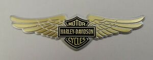HARLEY DAVIDSON 3D METAL BADGE STICKER GRAPHIC DECAL LOGO GOLD WINGS SHIELD