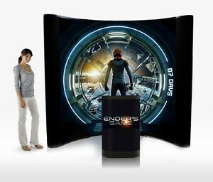 8ft Trade Show Pop-Up Display Booth, Brand NEW - With printed graphics