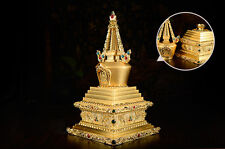 17CM TIBET GOLD GILT STUPA BUDDHA PAGODA OPENABLE TO HOLD HOLY RELICS