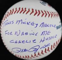 Pete Rose Thanks Mickey Mantle Naming Me Charlie Hustle Signed OML Baseball PSA