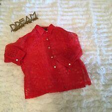 Sweet Orange-Sheer-Women's-Mirasol Blouse -3/4 Sleeve-Button-Size LG