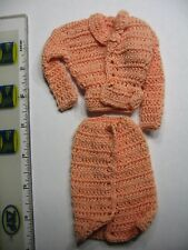BARBIE CUSTOM BUSINESS DRESS HAND CROCHET HAND MADE BEAUTIFUL PEACH MADE IN USA
