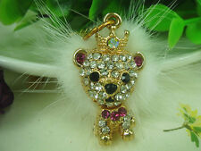 XS001 Lion King Keyring Feather Rhinestone Crystal Charm Pendant Key Chain Gift