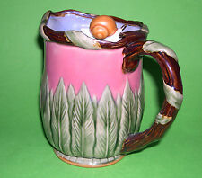 Art Pottery - Stunning Majolica Style Snail Design Pitcher In Vibrant Colours.