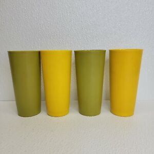 Vintage Tupperware Cups Tumblers 1348 Harvest Fall Lot of 4 Yellow Avocado Green
