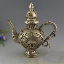 China Miao Silver 8 Auspicious Symbol Fish Fishes Wine Tea Flagon Kettle