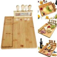 Neu Bamboo Cheese Board with Cutlery Set, Wood Charcuterie Serving Platter J8E6