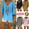 Women V Neck Boho Beach Cover Tops Vintage Hippie Baggy Blouse Casua T Shirt HQY
