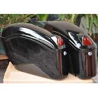New universal Black Hard saddle bags w/ light bracket For Motorcycle cruiser