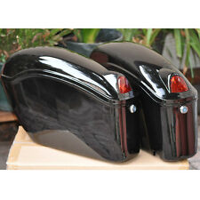 new black motorcycle sade case hard saddle bag fit most cruiser w/ bracket light
