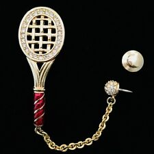 Signed Swan Swarovski Tennis Racquet with Tack pin Pave Ball Brooch Pin