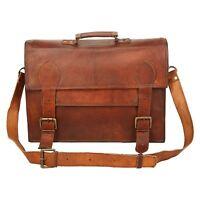 1990 Designed Men Brown Leather Vintage Laptop Messenger Shoulder Briefcase Bag