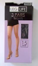 Three pairs size medium 36-42in hips pantyhose tights 15 denier Black