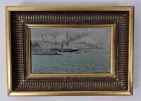 EDOUARD AMABLE ONSLOW Oil Painting 1890 S.S. MENTMORE DEADMAN'S BAY PLYMOUTH