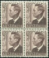 Australia 1951 SG237c 2½d purple-brown KGVI block MNH