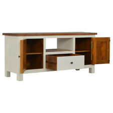 White Wood TV Stand Media Unit | 2 Cupboards & Drawer Shelf |Two Tone Hand Made