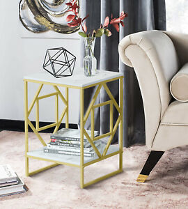 2Tier Side Table w/ Storage Shelf White Marble Nightstand Sofa Coffee End Table