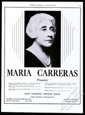 1940 Maria Carreras photo piano recital tour booking trade print ad