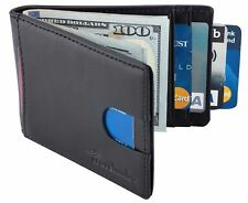 Front Pocket Wallet Money Clip RFID Blocking Leather Credit Card Slim Holder