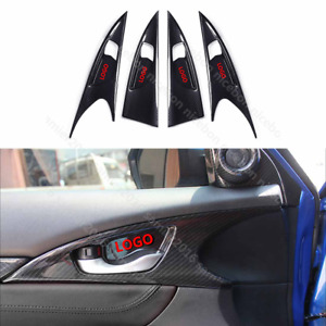 Carbon fiber color Door Handle bowl Panel Cover For Honda Civic 4-Door 2016+