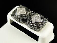 Mens White & Black Gold Finish Genuine White Diamond Dome Stud Earrings .40 Ct