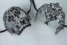 Black Beauty & Demon Skull Couple Masquerade Masks with Clear Rhinestones