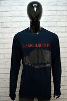 Maglia Blu Uomo WOOLRICH Taglia XL Maglietta Shirt Man Manica Lunga Cotone