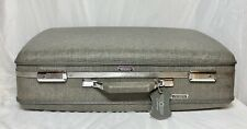 VTG American Tourister TRI-TAPER Gray Tweed Suitcase Luggage Tag +Key 24x16x7