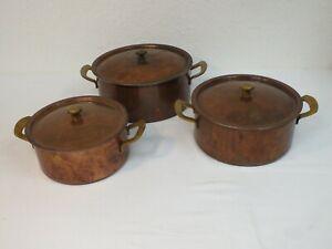 Kochset aus Kupfer - 3 Töpfe von Spring  Culinox - schwere Qualität Topf