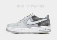 544259f4170e90 Nike Air Force 1 Low Grey White Black Kids Boys Girls Trainers All Sizes