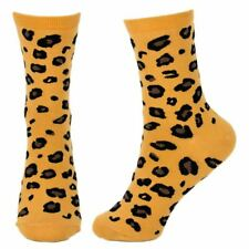 Women's Leopard All Over Print Novelty Crew Socks - Ladies One Size UK 4-7