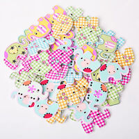 50Pcs Fancy Bulk 2 Holes Elephant Baby Wooden DIY Sewing Buttons Scrapbooking