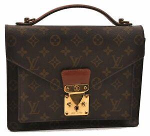 Authentic Louis Vuitton Monogram Monceau Hand Bag Briefcase M51185 LV 0662A
