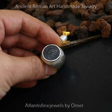Large Men's Ring W/ Coin Sterling Silver Hammered Handmade Ancient Work By Omer