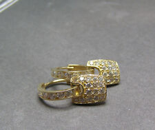 14K Yellow Gold Pave CZ Clear Stone Charm Dangle Hoop Earrings