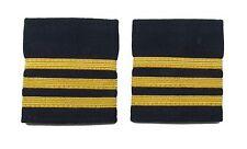 More details for  epaulette epaulettes airline 3 x 1/4 inch gold bars on navy blue r1686