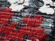 Abstract Floral Stretch Fabric, Black Red Grey White 1.5 mt x 1.3 mt, New