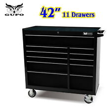 "GUFO 42"" ROLLER CABINET 11 DRAWER TOOL BOX CHEST TROLLEY SHED GARAGE STORAGE BLK"