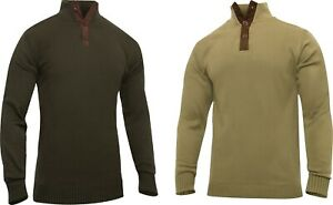 Men 3-Button Military Sweater With Suede Accents Three Button Top Cold Weather