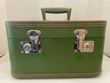 Vintage Train Case Make Up Carry On Luggage Green No key Used