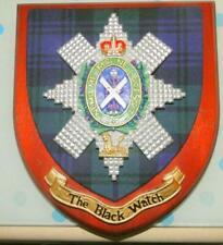 More details for vintage old scottish carved oak clan  black watch tartan plaque crest shield y