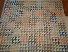VTG 1920 30s Triangles Quilt Top Unfinished Feedsack Fabrics Patchwork