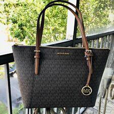 Michael Kors Women Large Leather Shoulder Tote Bag Handbag Satchel Purse Brown