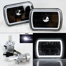 "7X6"" Black Glass CCFL White Halo Headlights Pair w/ 6K 36W LED H4 Bulbs Plym"